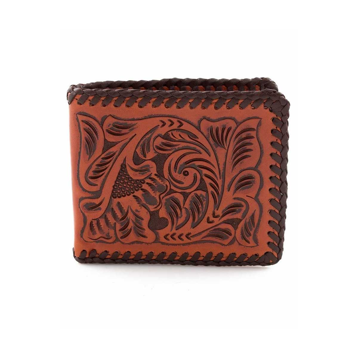 M & F Western 3D Floral Hand Tooled Leather Bi-fold Wallet