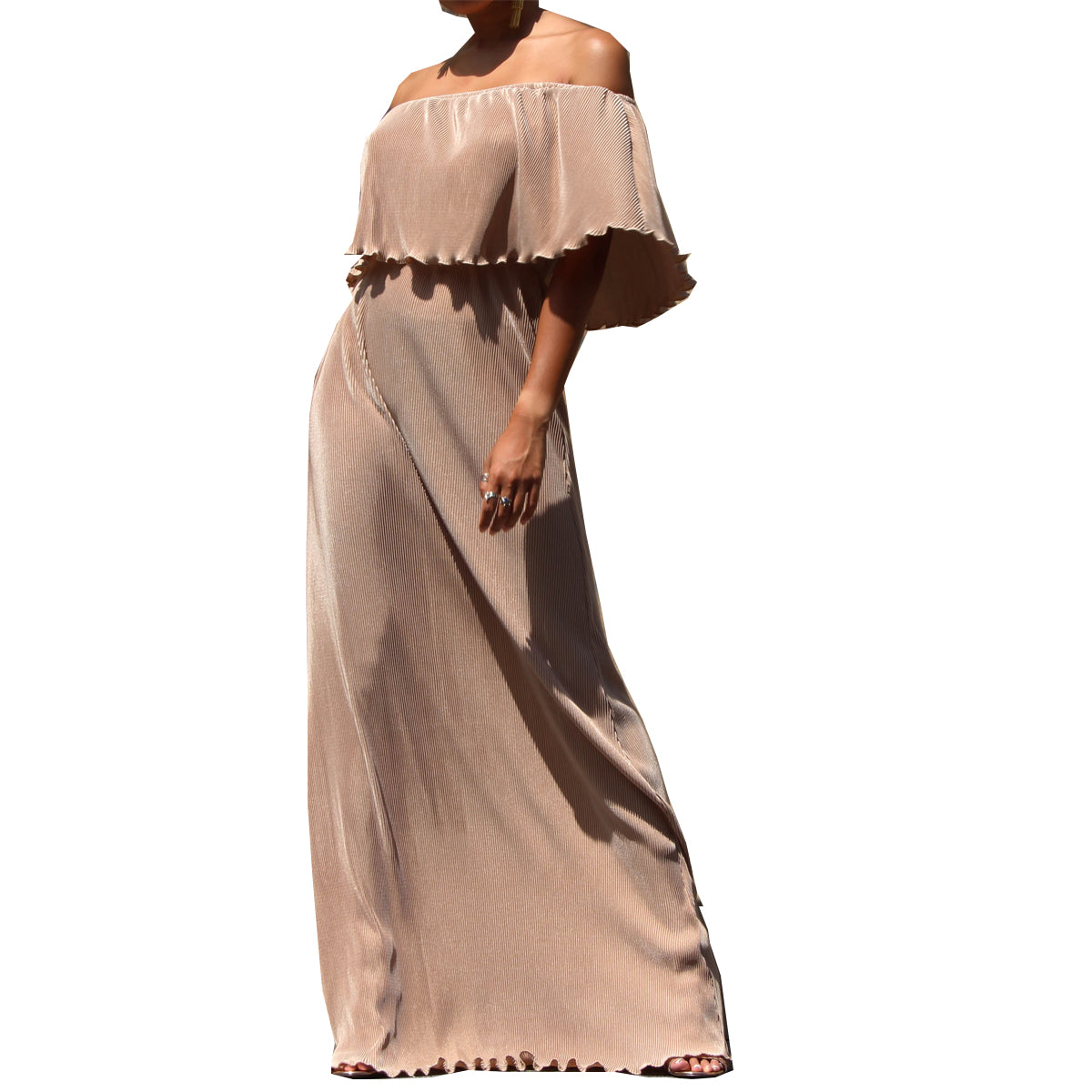 Dress Day Women's Pleated Off Shoulder Maxi Dress - Gold