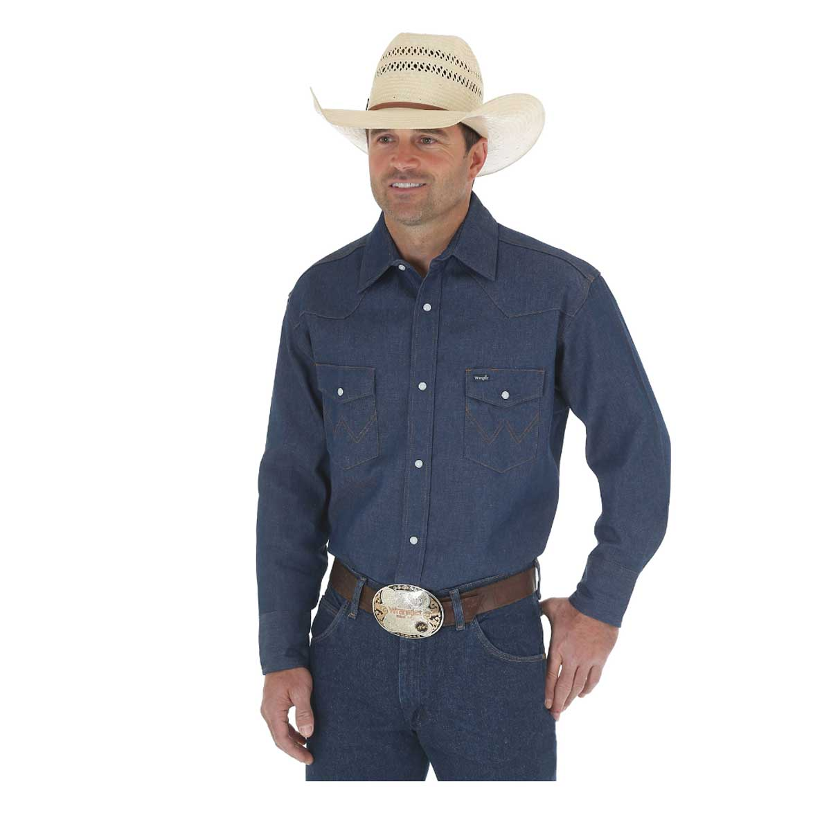 Wrangler Men's Cowboy Cut Work Western Rigid Denim Long Sleeve Shirt