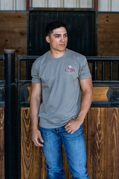 Lazy J Ranch Wear Hereford Conquest Short Sleeve T-Shirt - Stone Grey