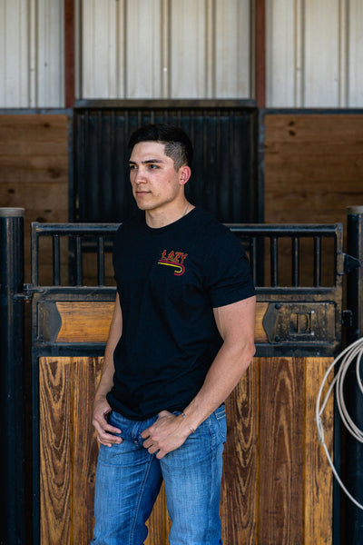 Lazy J Ranch Wear Fire J Logo Short Sleeve T-Shirt - Heather Black