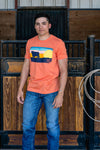 Lazy J Ranch Wear Hereford Sky Short Sleeve T-Shirt - Orange