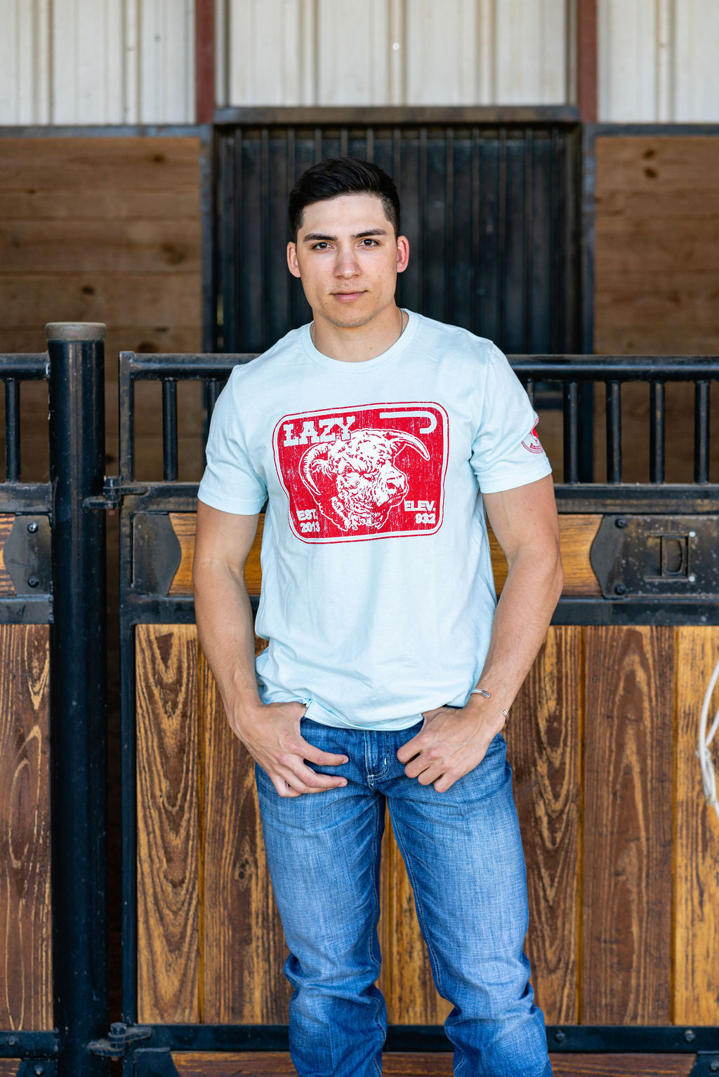 Lazy J Ranch Wear Red Elevation Short Sleeve T-Shirt -  Light Blue