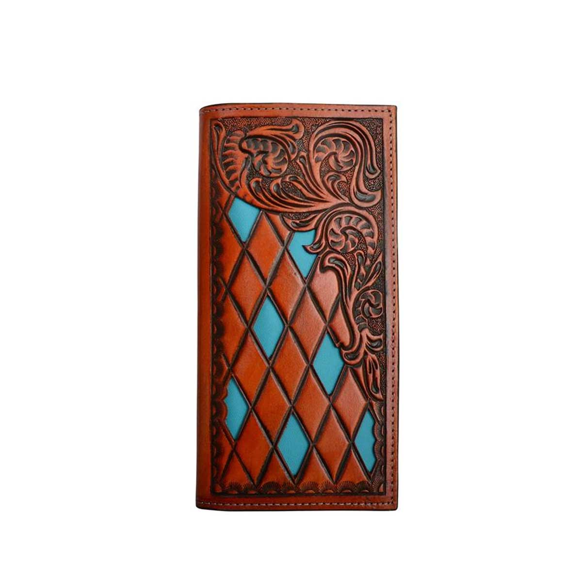 M & F Western 3D Natural Leather Diamond Shaped Rodeo Style Wallet
