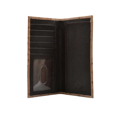 M & F Western Men's Ostrich Print Leather Rodeo Checkbook Wallet