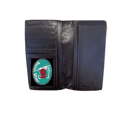 M & F Western Men's Rodeo Distressed Leather Checkbook Wallet