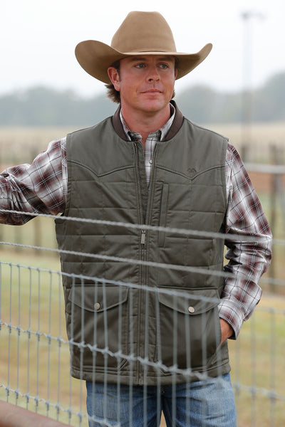 Miller Ranch Olive and Brown Coated Men's Vest