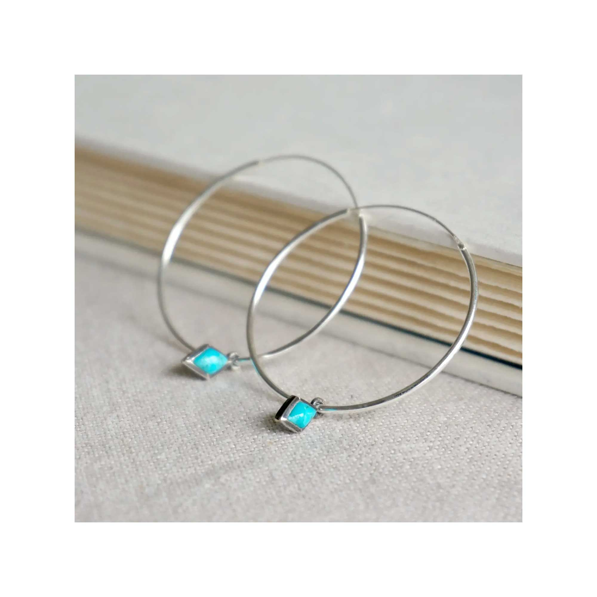 Sowell Jewelry Dior Turquoise Hoop Earrings