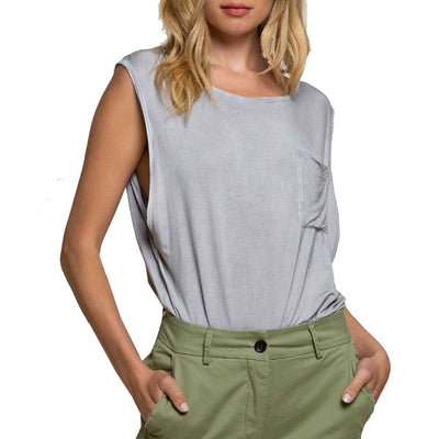 Pol Clothing Women's Loose Fit Tank Top - Mystic Grey