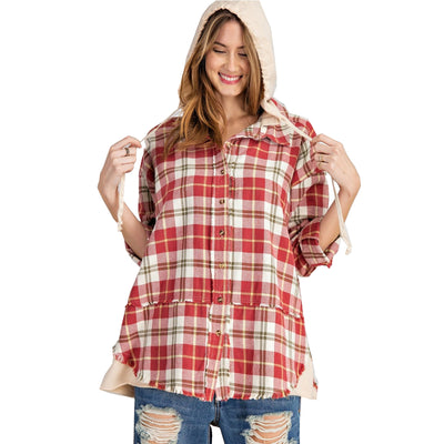 Easel Women's Easy Living Button Down Hoodie - Raspberry