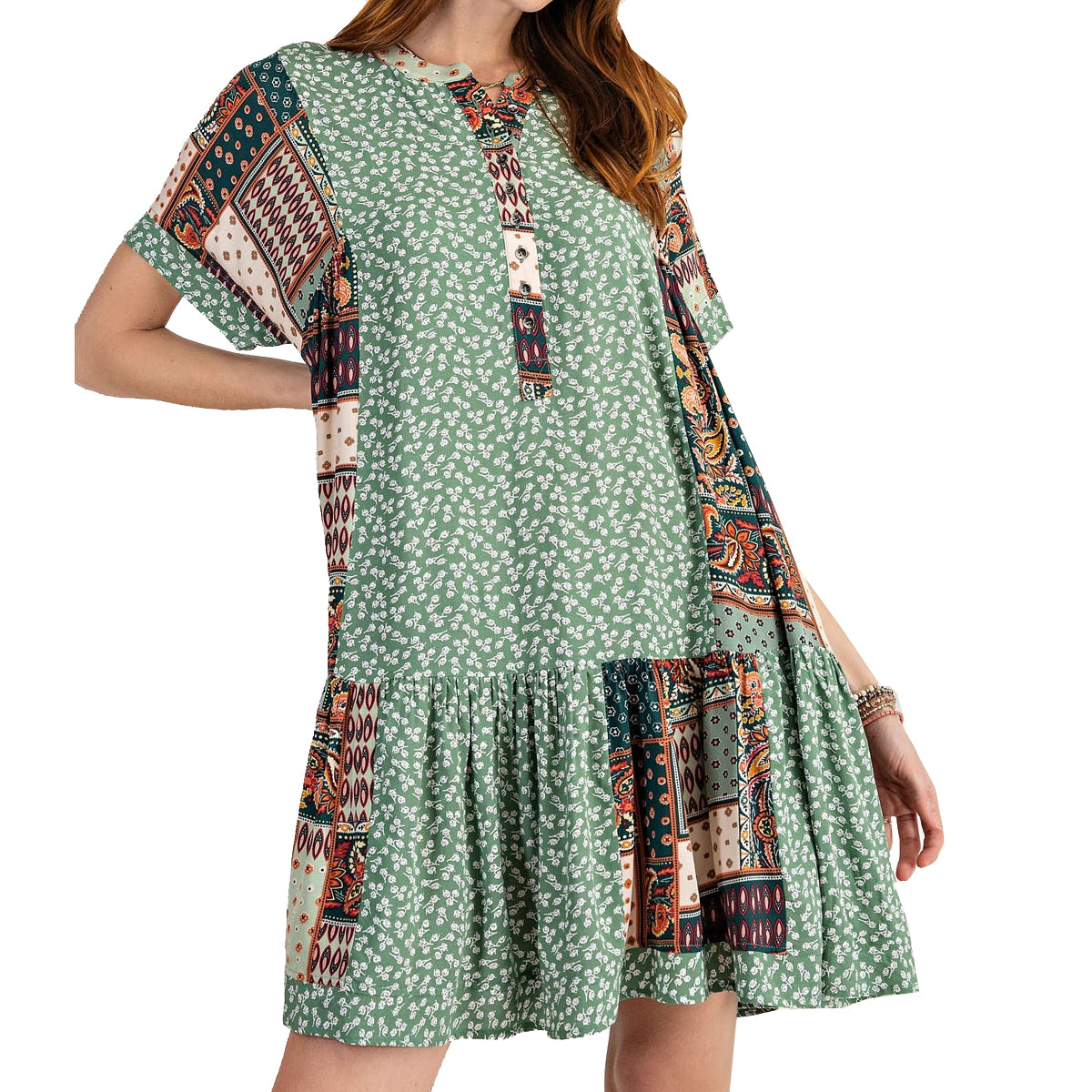 Easel Women's I'm the One Printed Tunic Dress - Sage