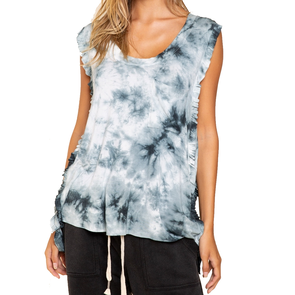 Pol Clothing Women's Feminine Swirl of Splash Knit Top - Indigo Galaxy Blend