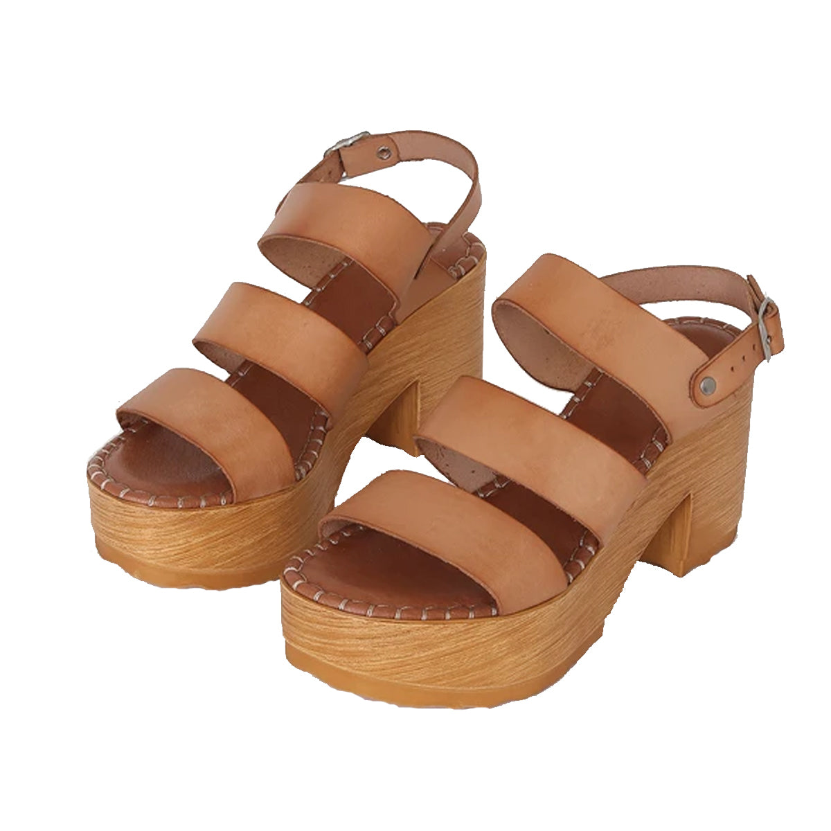 Musse & Cloud Women's Frisa Leather Platform Sandals - Natural