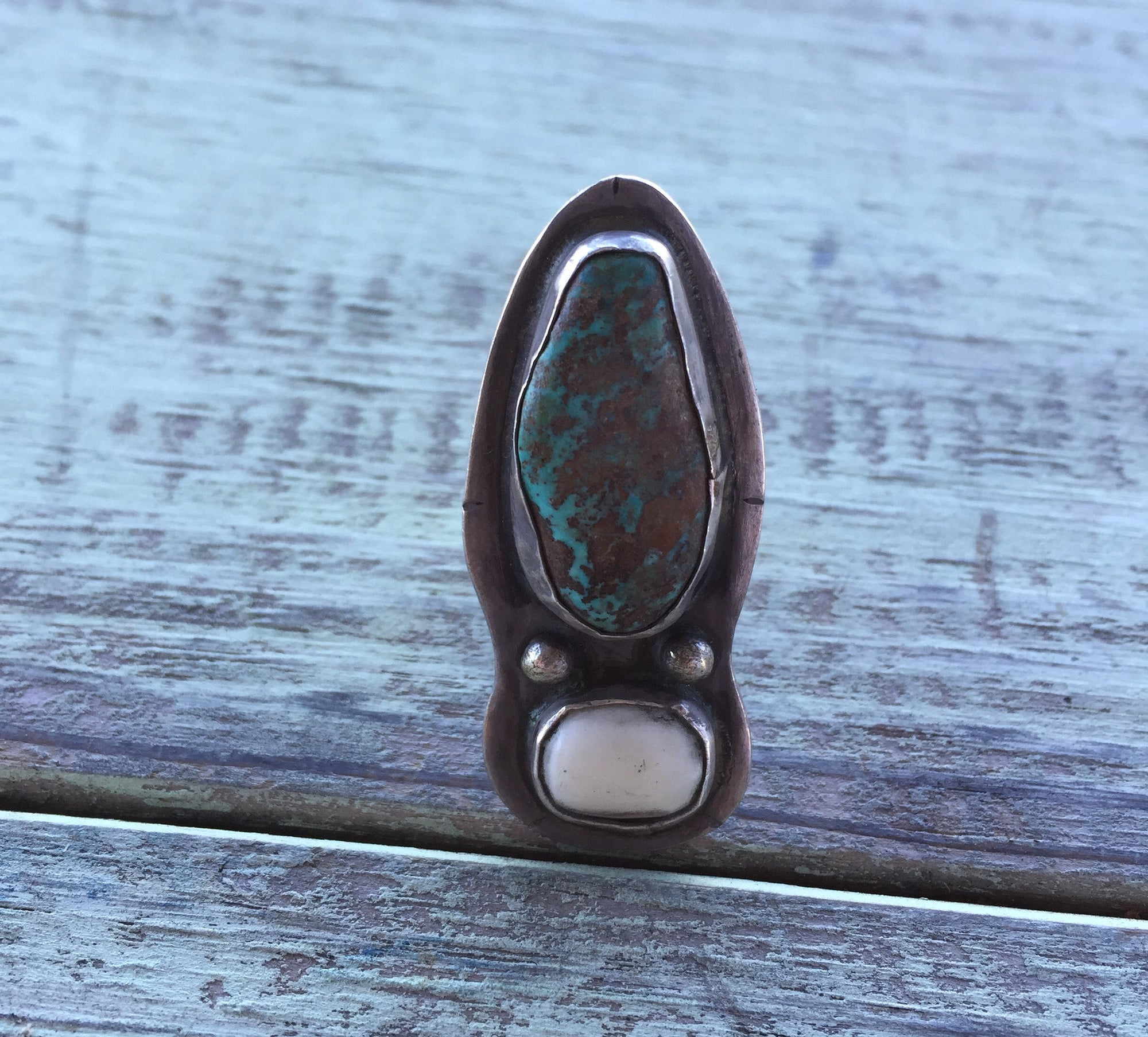 Sterling Silver Bone and Turquoise Ring by Love Tokens, , love tokens - Lazy J Ranch Wear