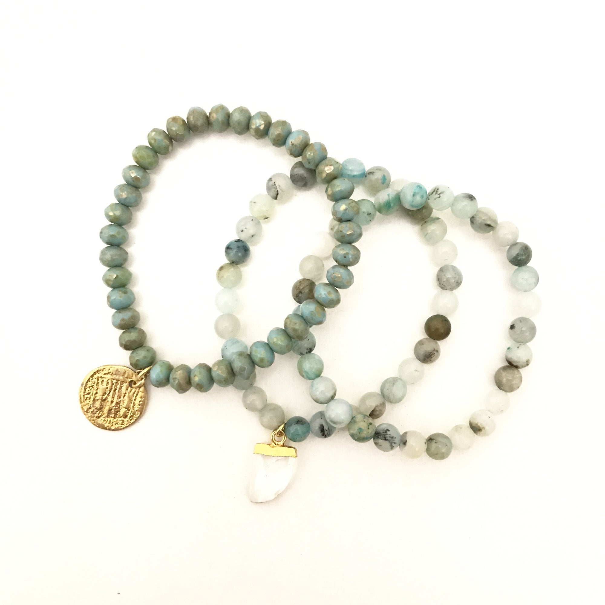 Mint Beaded Bracelets with Coin Charm