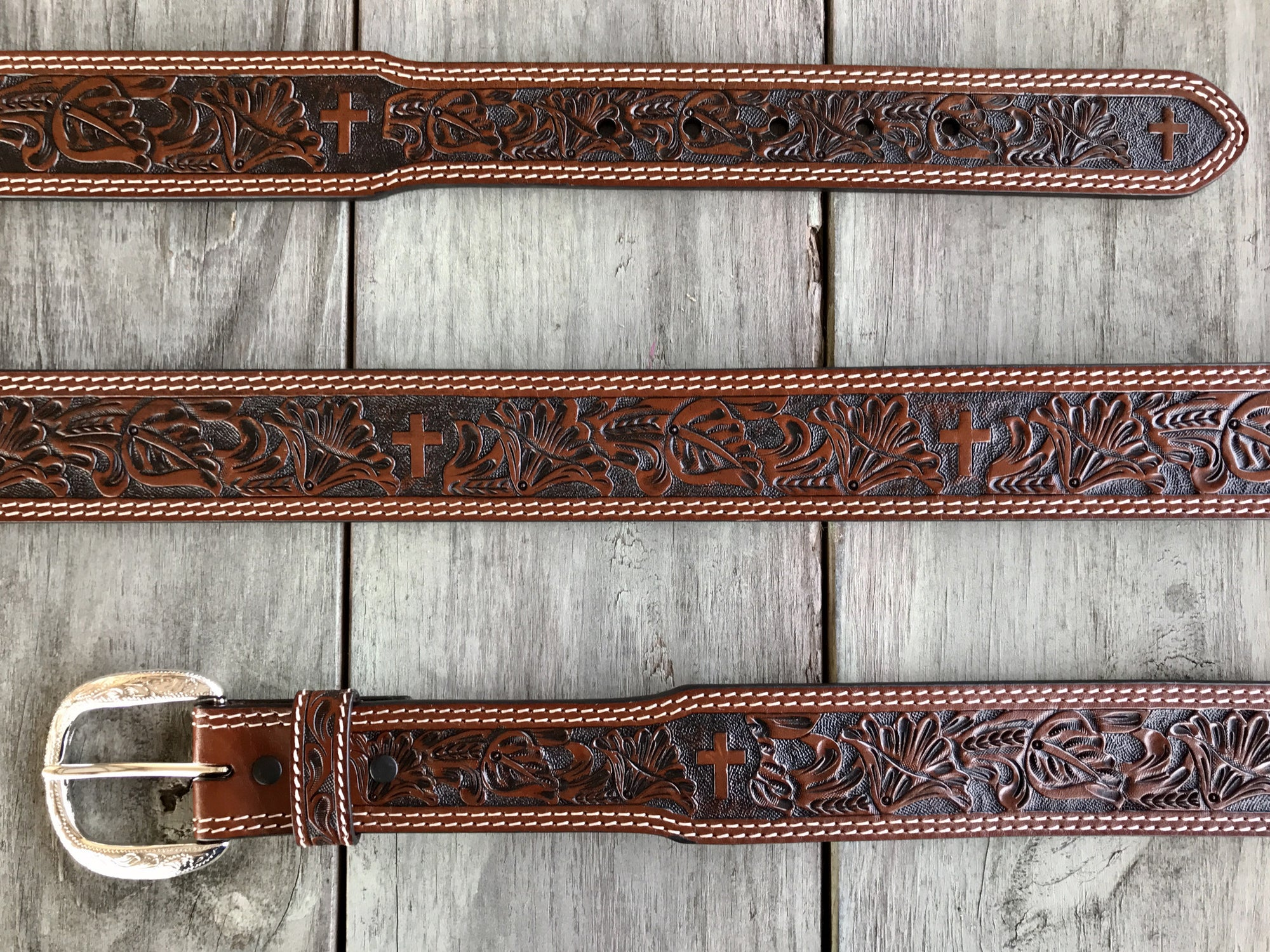 Cowboy Chrome Floral and Cross Hand Tooled Men's Belt