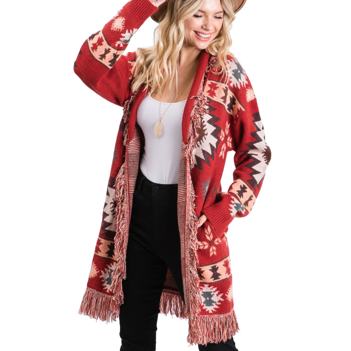 Jodifil Women's Tribal Print Cardigan - Brick