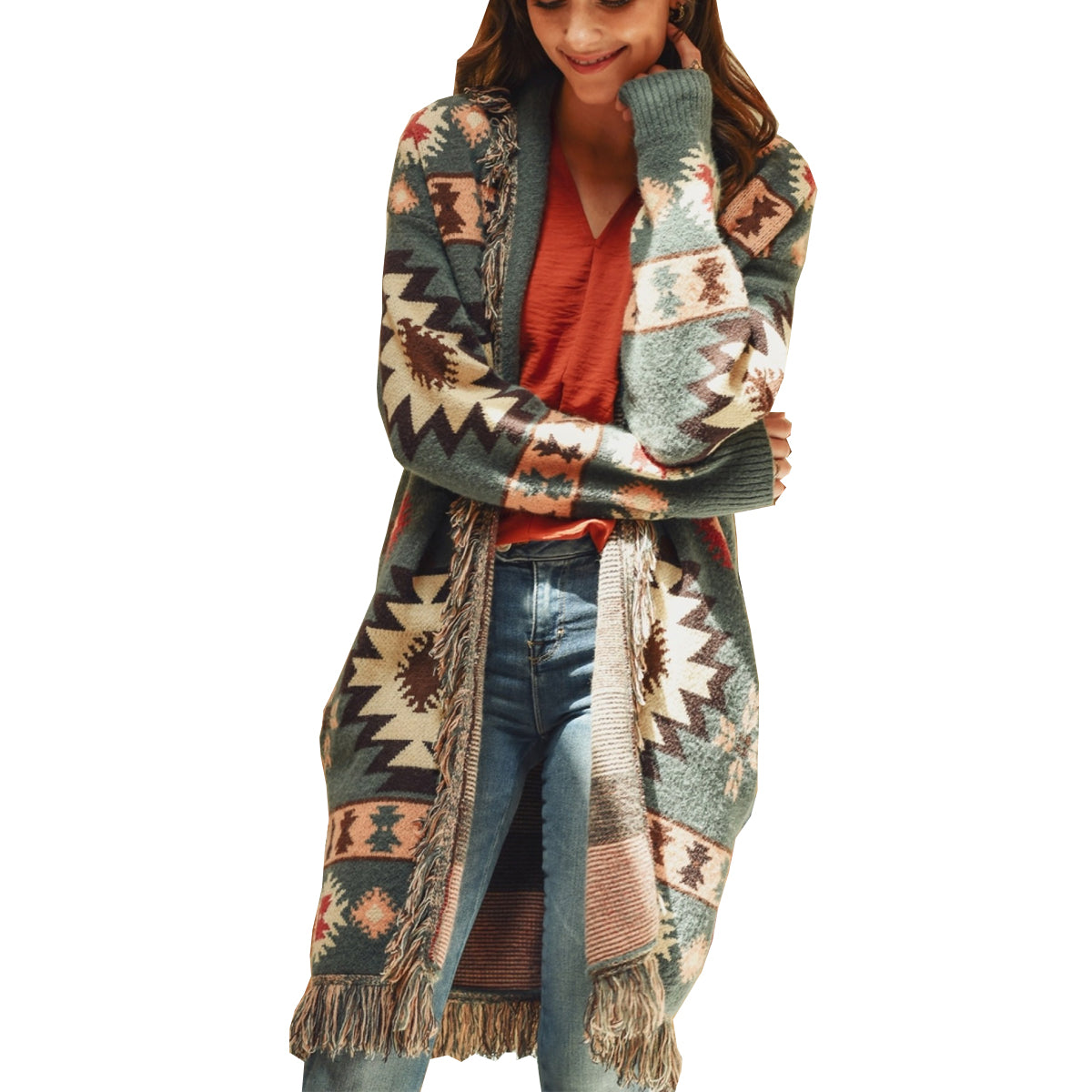 Jodifl Women's Long Sleeve Tribal Print Cardigan - Sage