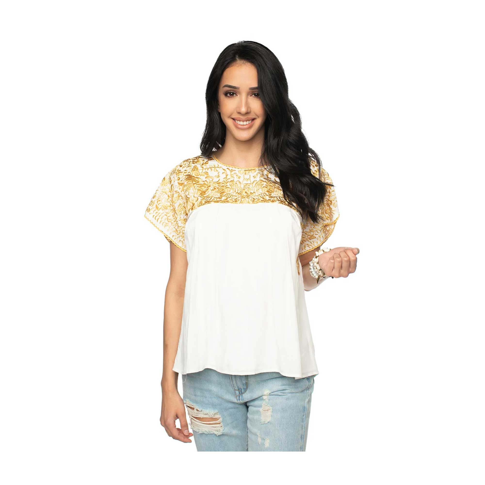 BuddyLove Greek Women's White Embroidered Top