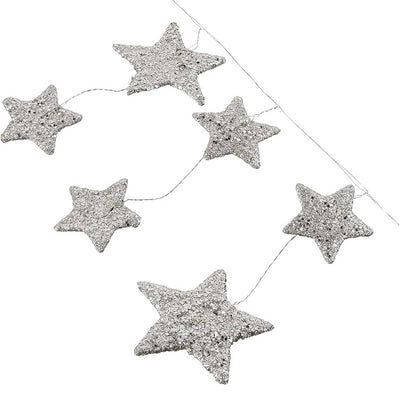 Creative Coop 72 Inch Glitter Star Garland - Silver Finish