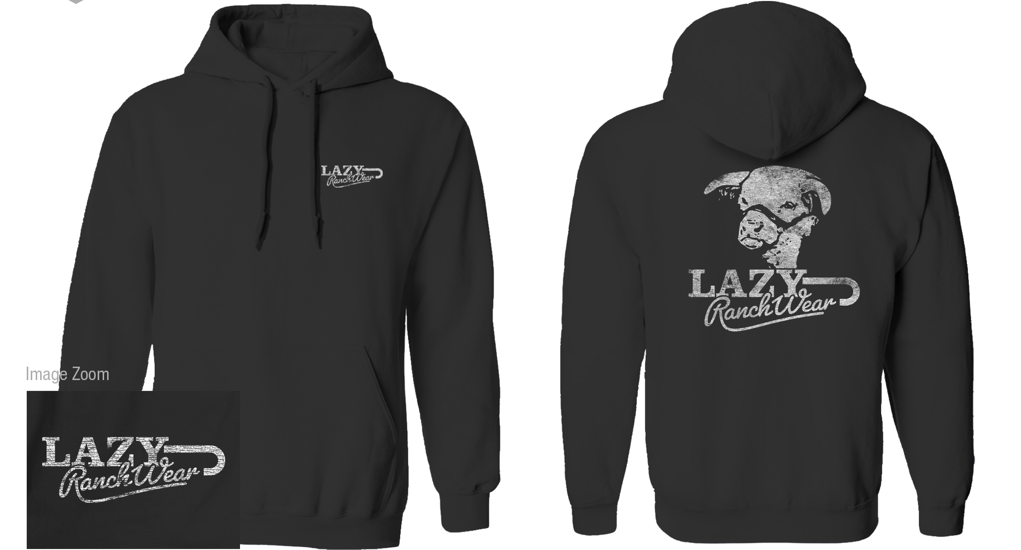 Lazy J Ranch Wear Black Retro Hoodie