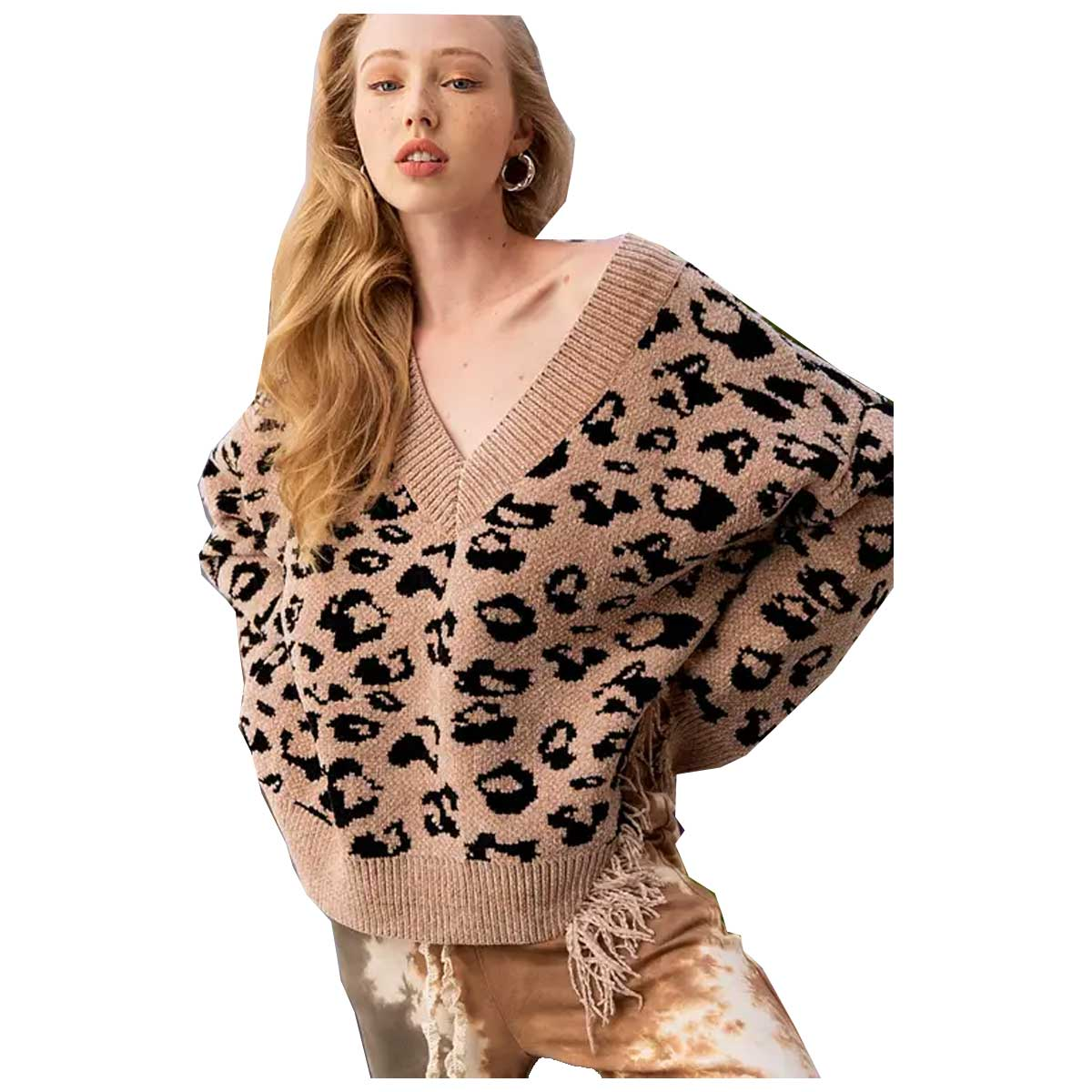 Pol Clothing V-Neck Sweater - Mocha Leopard