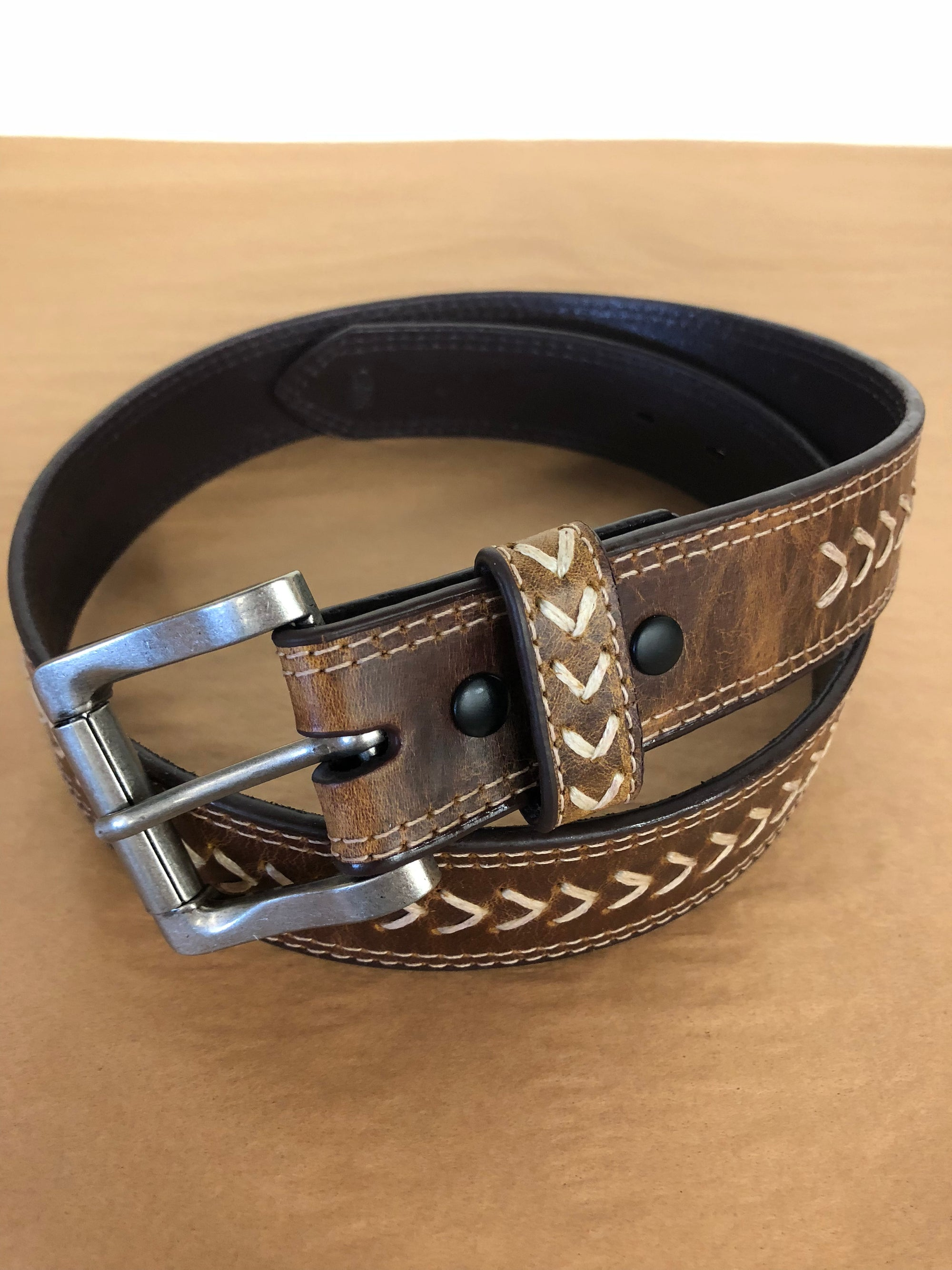 "1 1/2"" Brown Distresses With Cream Stitch By 3D Belt"