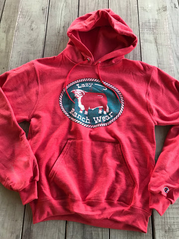 Lazy J Ranch Wear Heather Red Hereford Patch Champion Hoodie