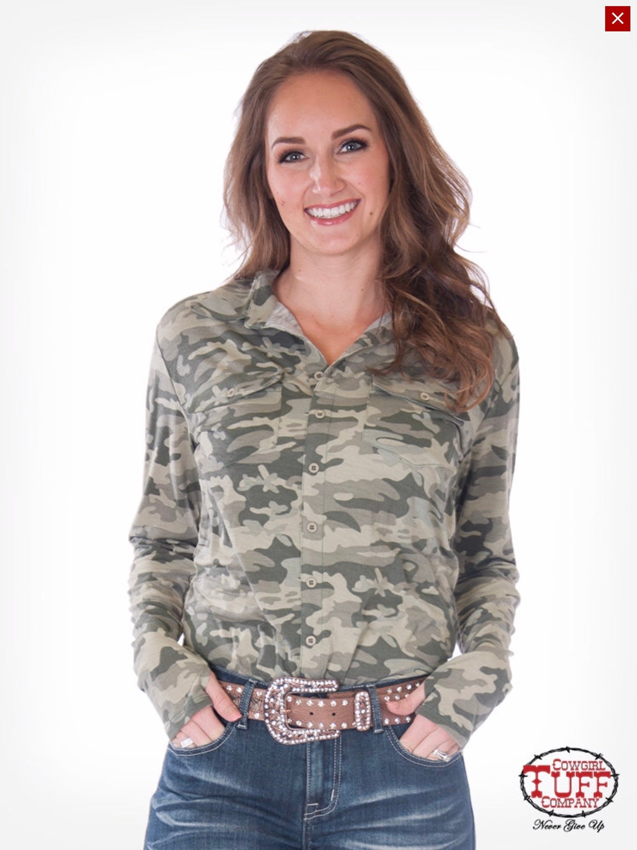 Cowgirl Tuff Camo Sport Jersey Mock Button Down