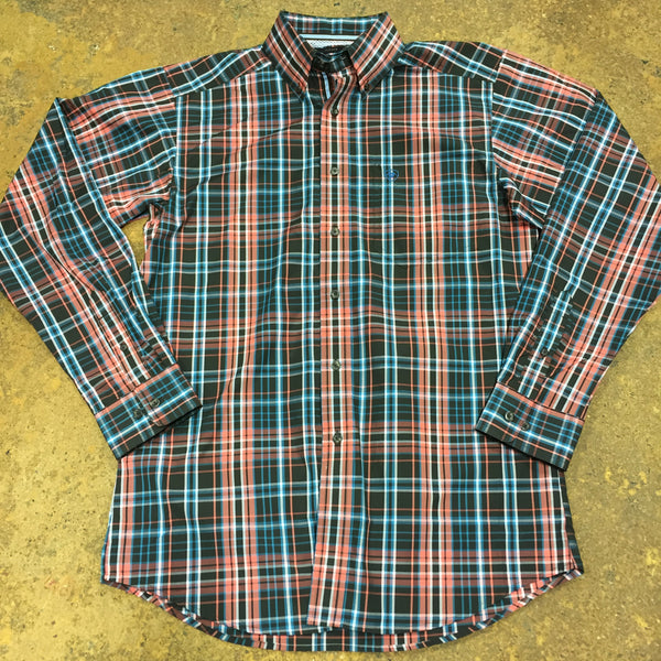 Marshall Blue and Orange Plaid Performance Shirt by Ariat