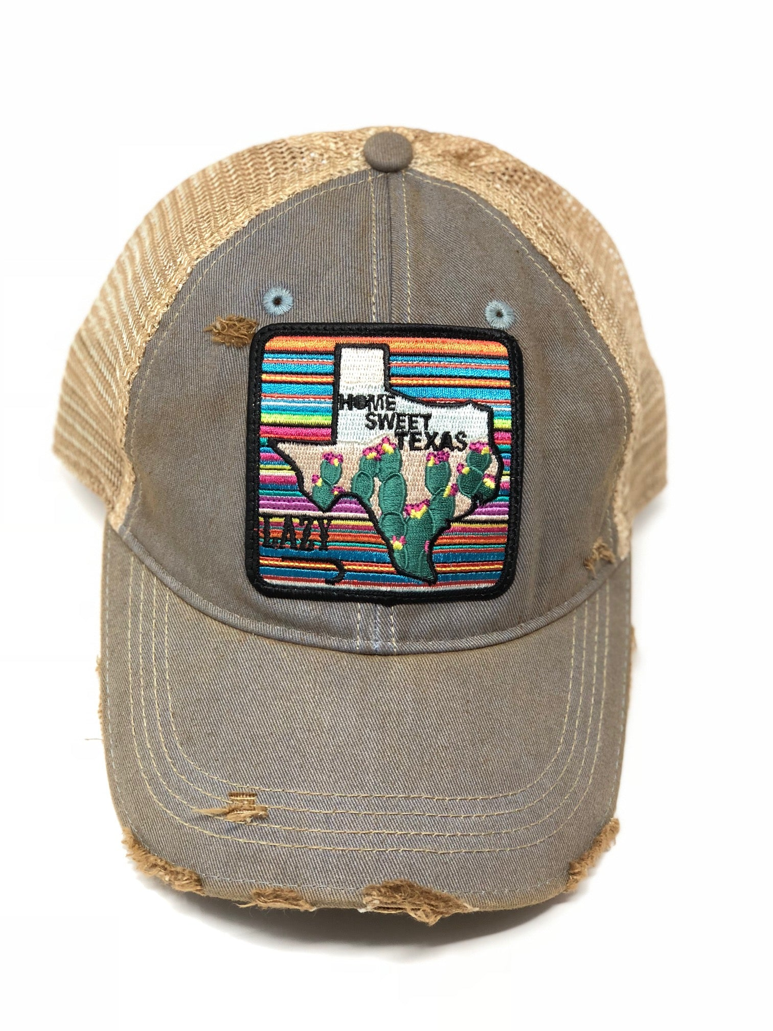 Lazy J Sky Blue & Tan Unstructured Home Sweet Texas Patch Cap