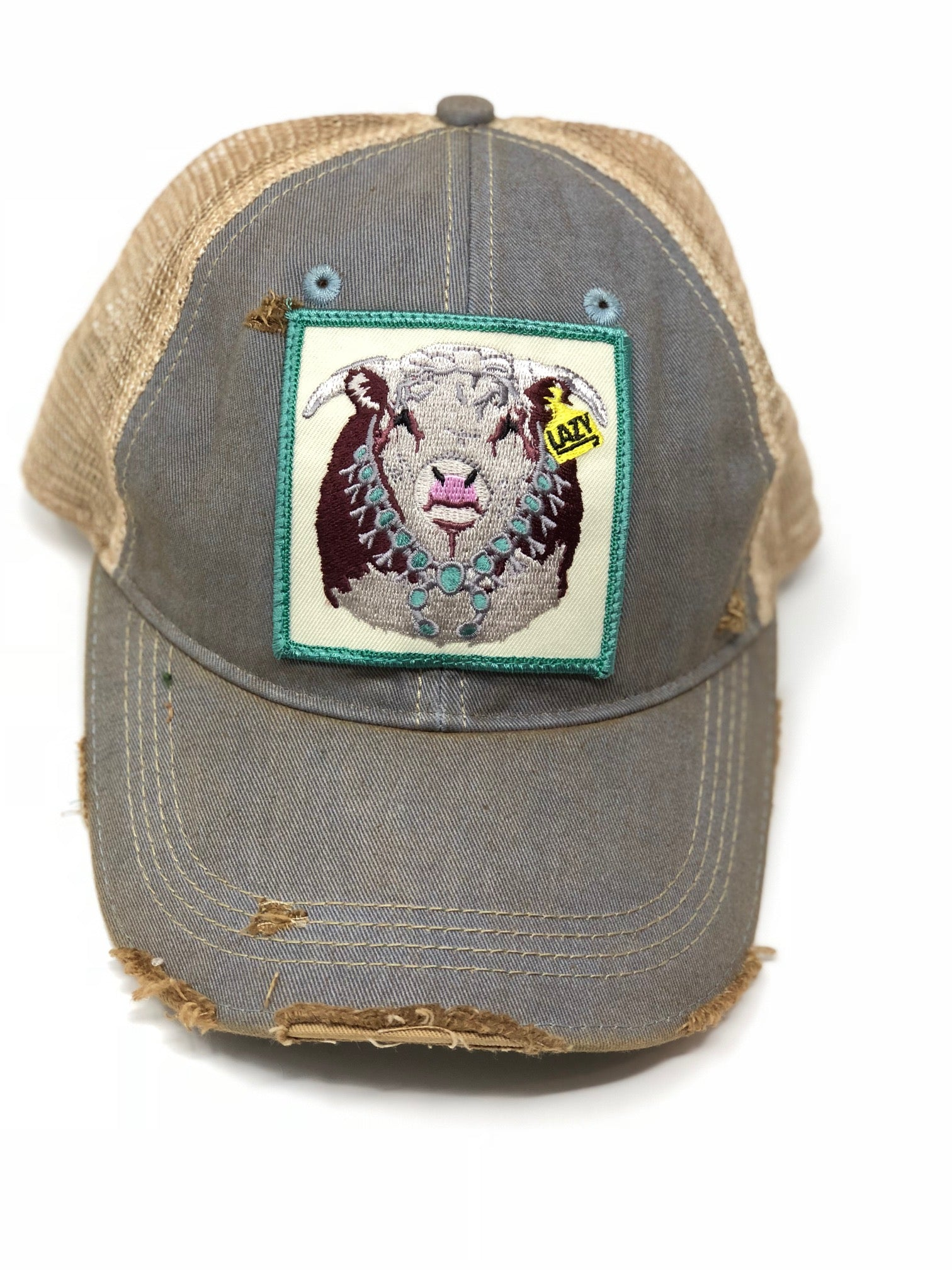 Lazy J Sky Blue & Tan Unstructured Squash Blossom Patch Cap