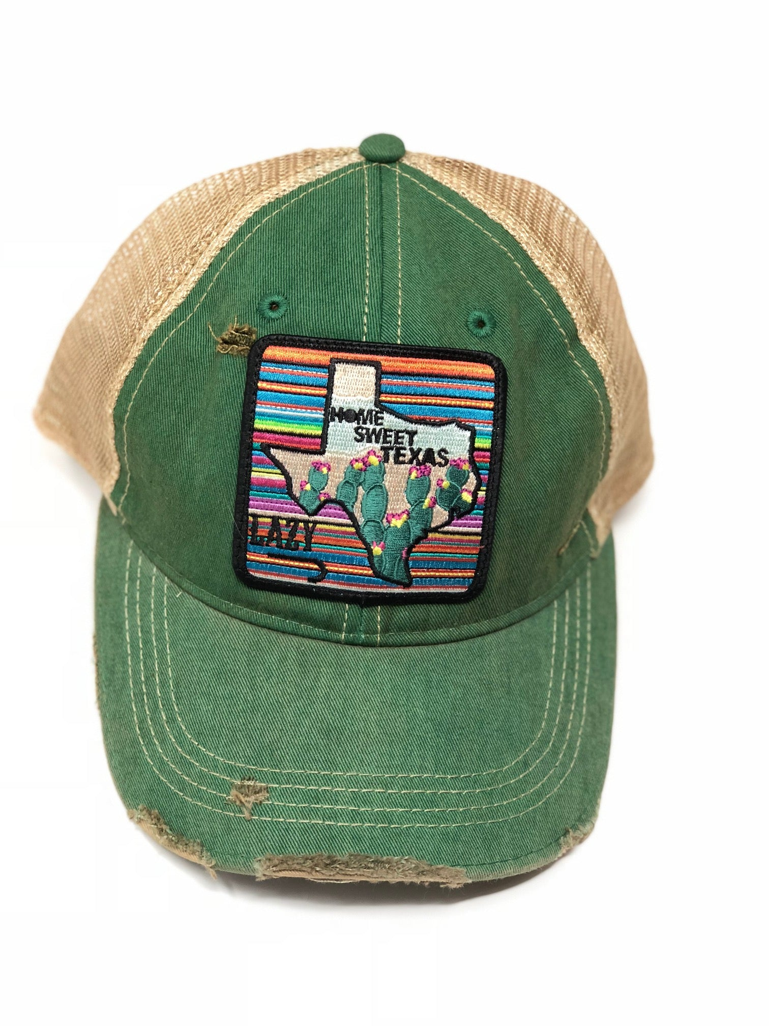 f5649918 Lazy J Kelly Green & Tan Unstructured Home Sweet Texas Patch Cap