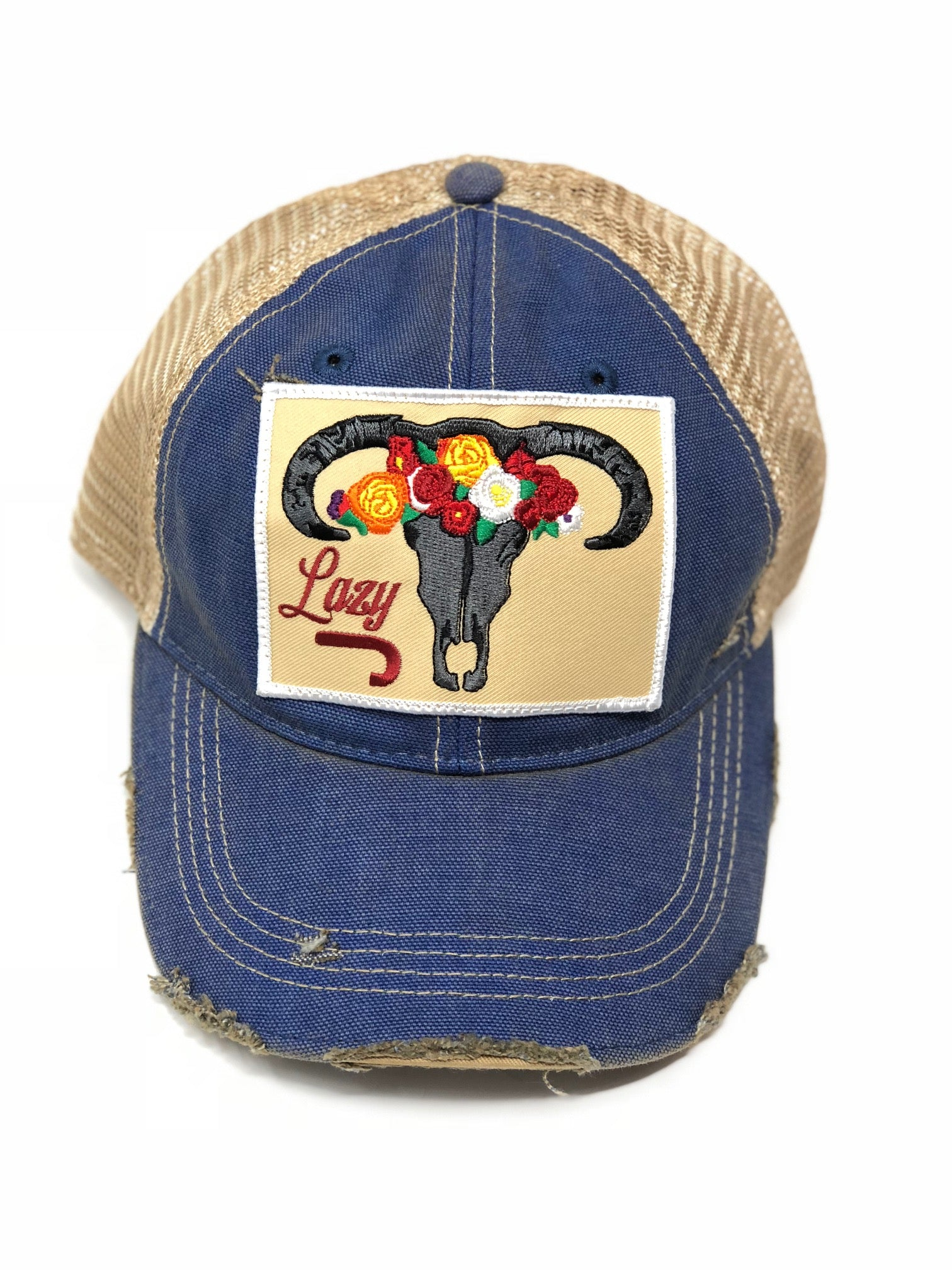 Lazy J Blue & Tan Unstructured Skull & Flower Patch Cap