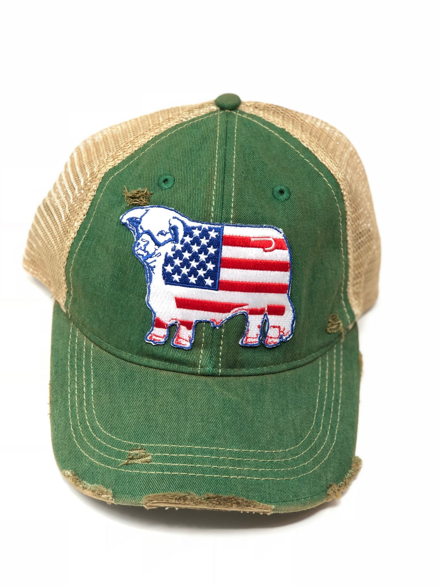 Lazy J Kelly Green & Tan Unstructured American Flag Patch Cap
