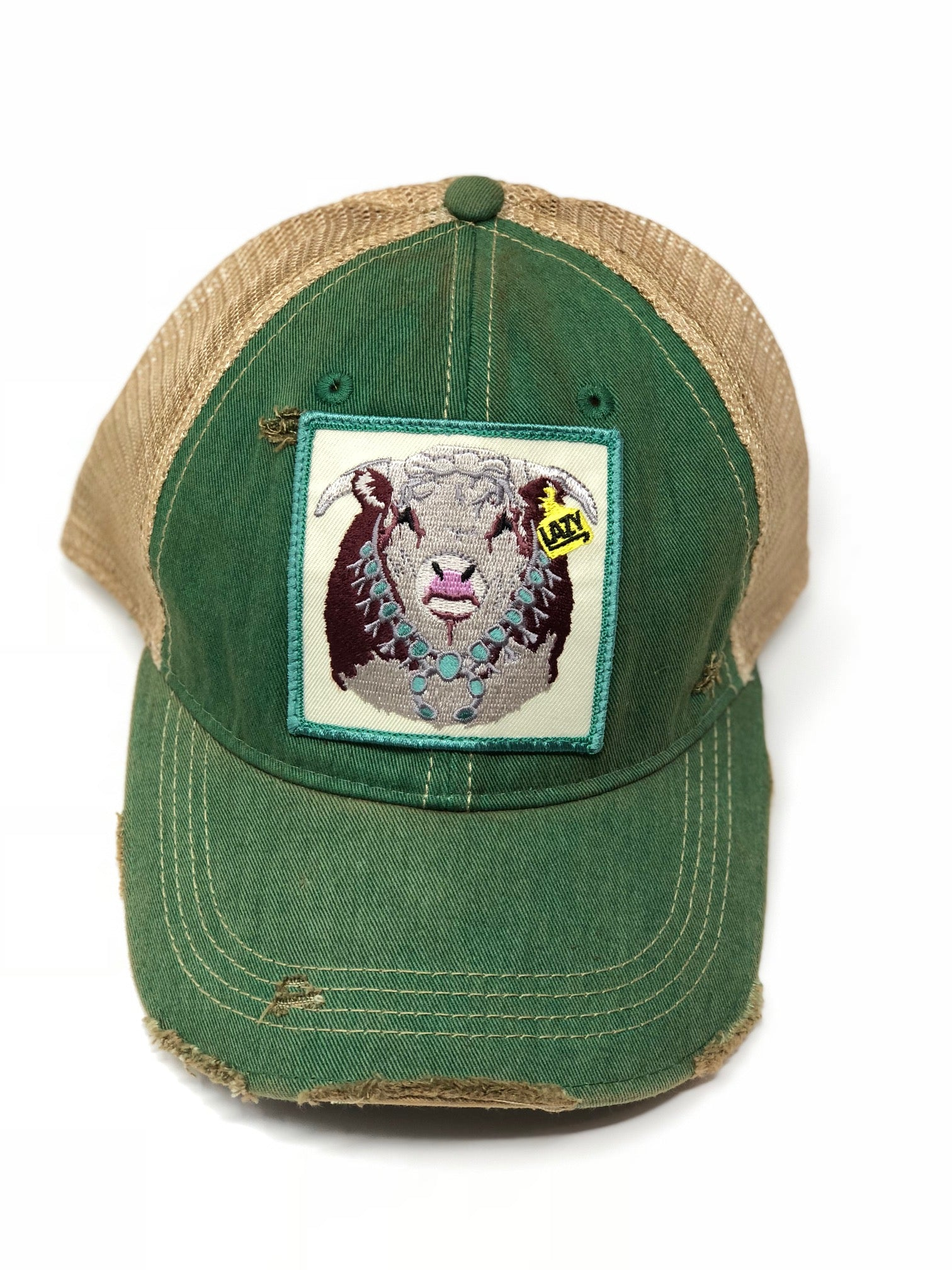 Lazy J Kelly Green & Tan Unstructured Squash Blossom Patch Cap