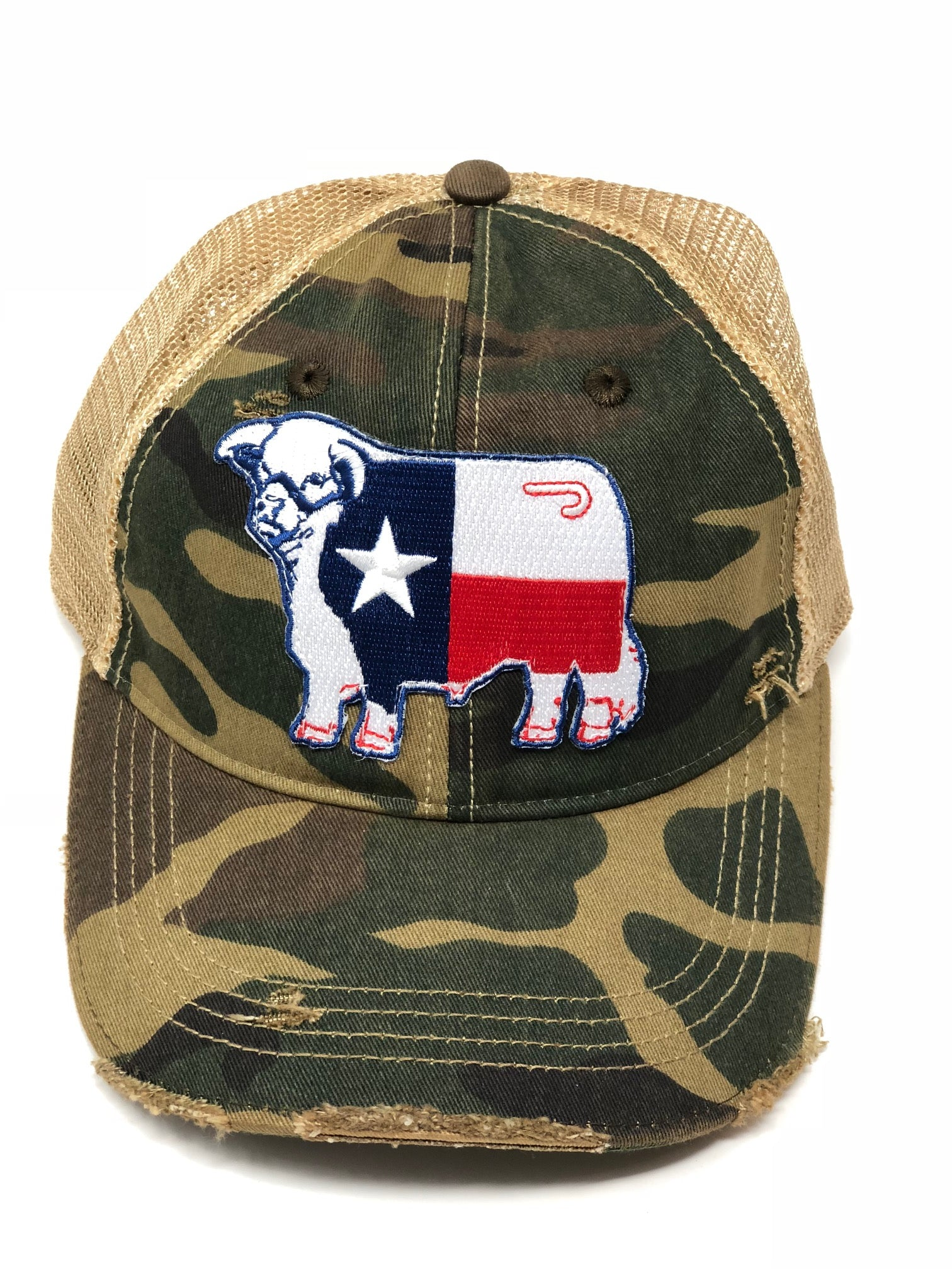 Lazy J Camo & Tan Unstructured Texas Flag Patch Cap