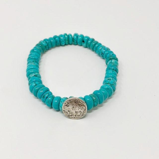 Turquoise Buffalo Coin Beaded Bracelet