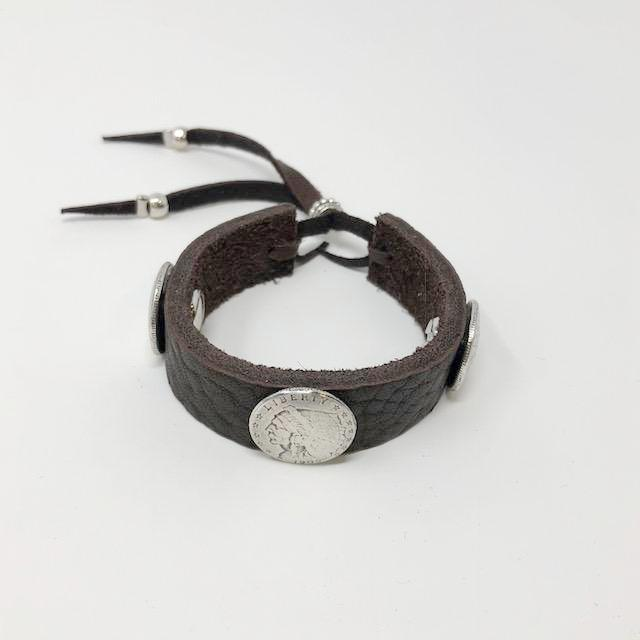 Leather Mini Coin Bracelet