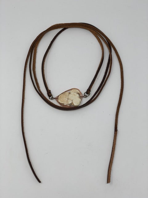 Leather White Buffalo Wrap Around Necklace