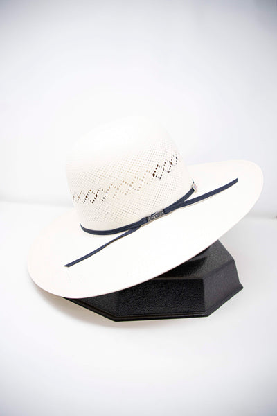 "American Hat Co. 4 1/4"" Brim Straw Hat with Navy 2 Cord Ribbon"