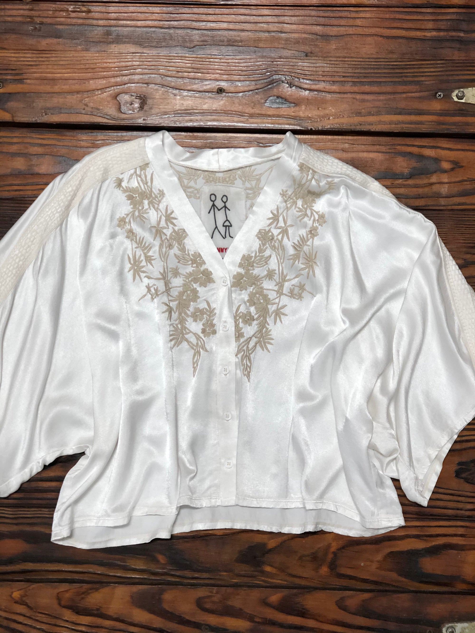 Johnny Was Calistoga White Satin Blouse