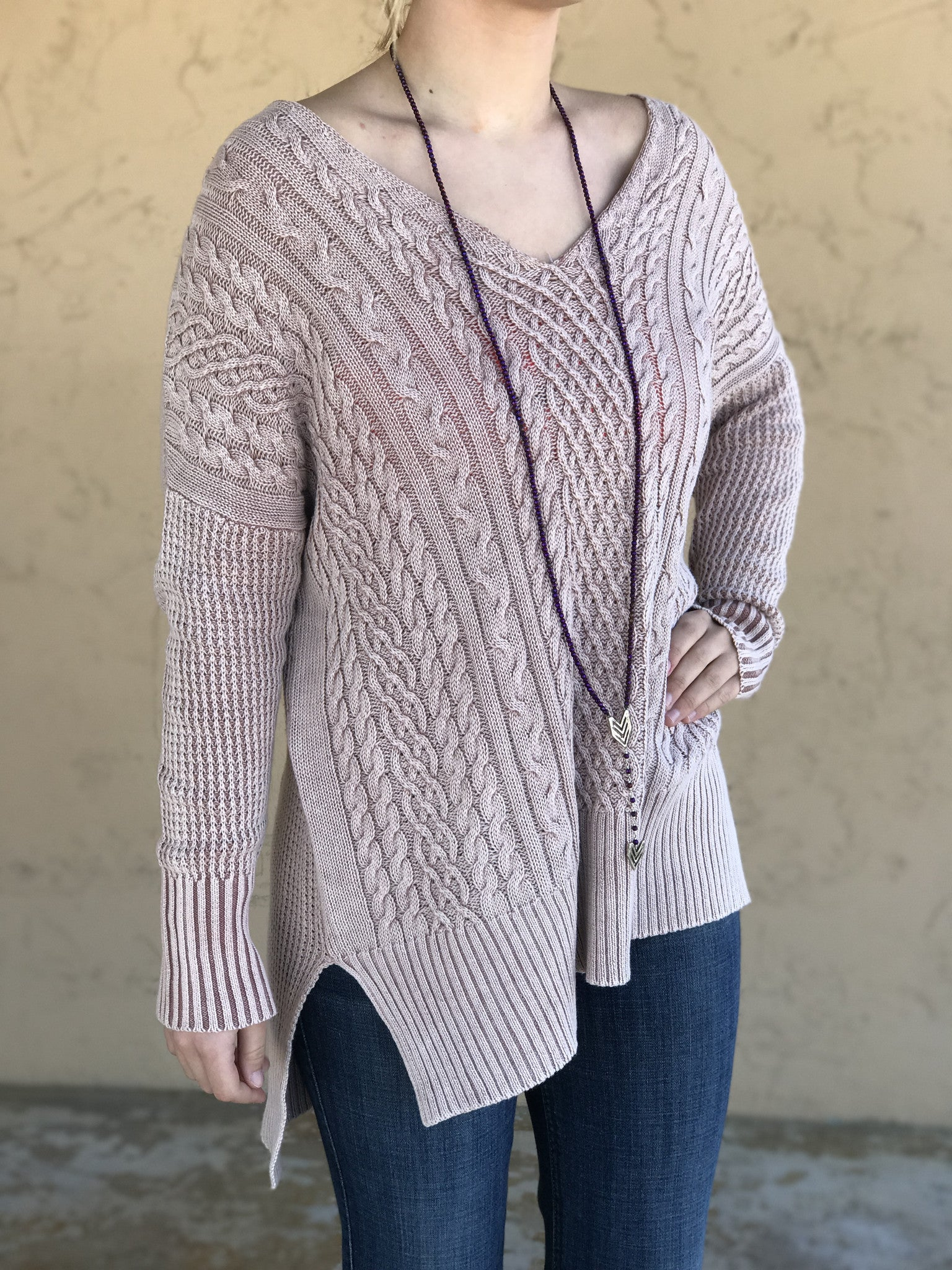 Women's Dusty Pink Cable Knit Sweater