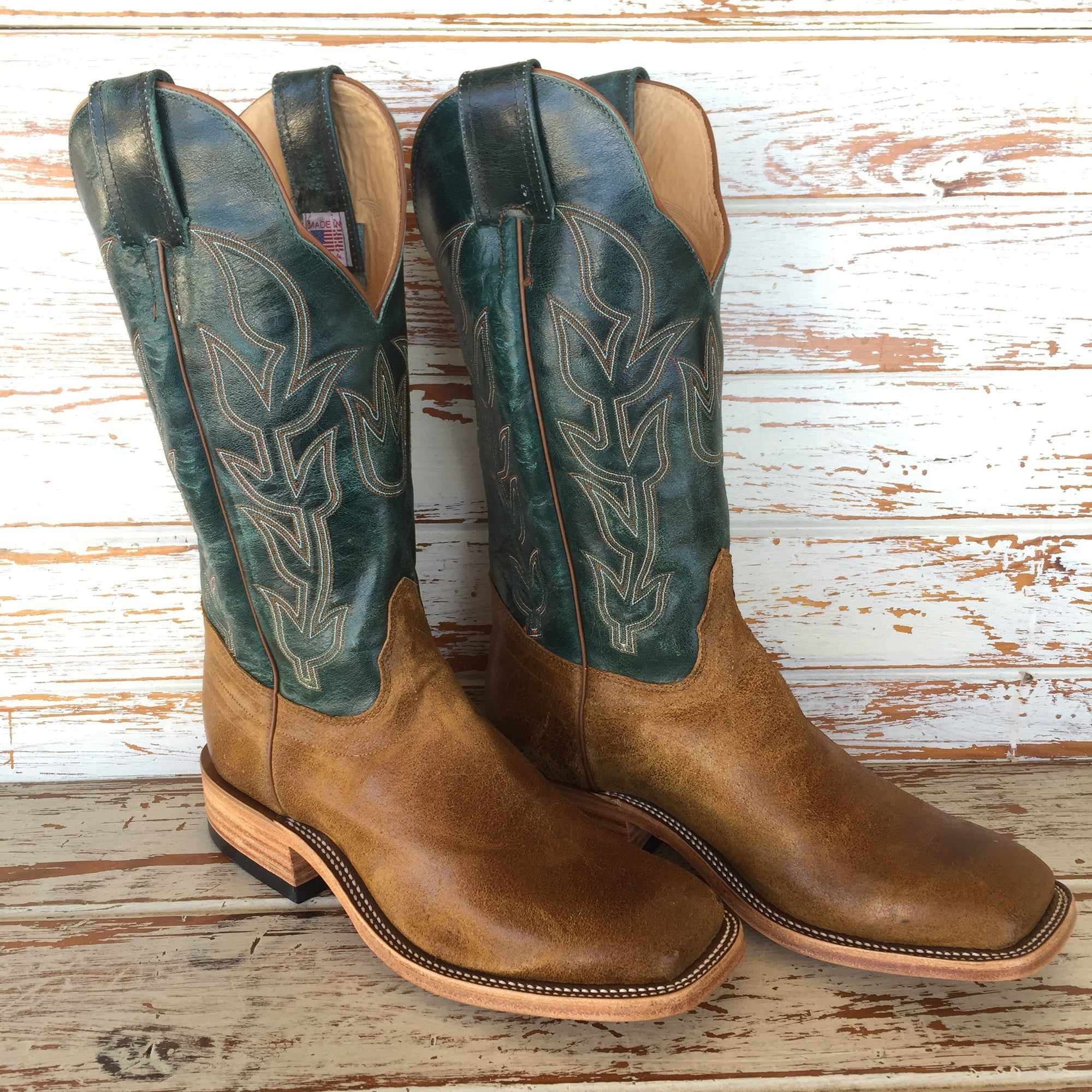 "Turquoise Rocksteer 13"" Top Handmade Boots by Olathe Boots"