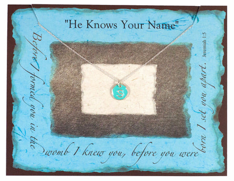 """He Knows Your Name"" Silver and Turquoise Initial Necklace"