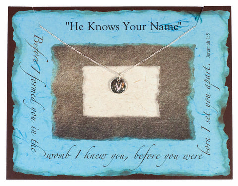 """He Knows Your Name"" Vintage Sterling Silver Initial Necklace"