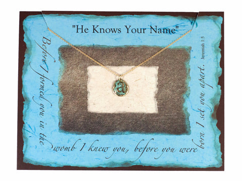 """He Knows Your Name"" Vintage Initial Turquoise Necklace"