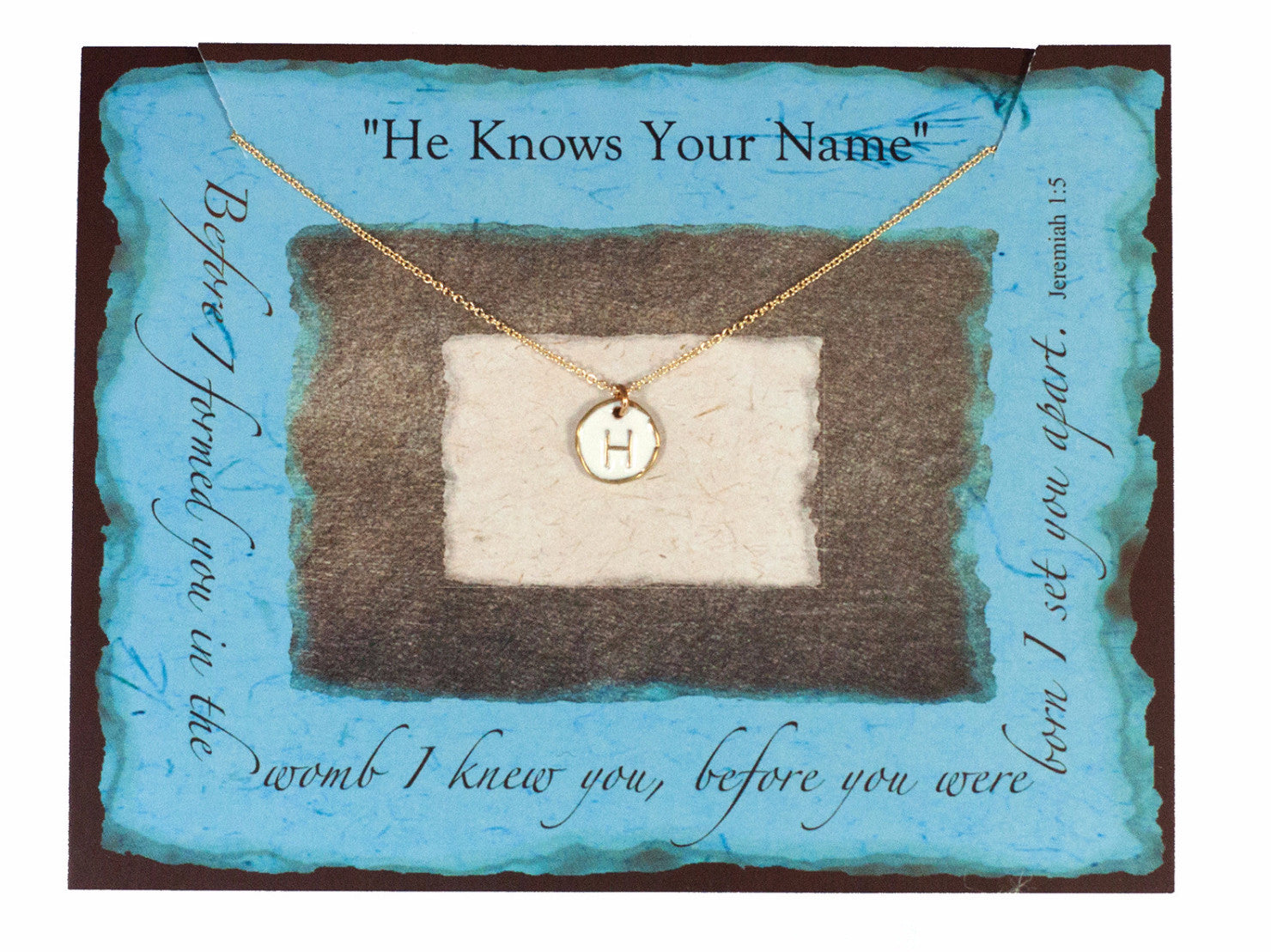 """He Knows Your Name"" White and Gold Initial Necklace"