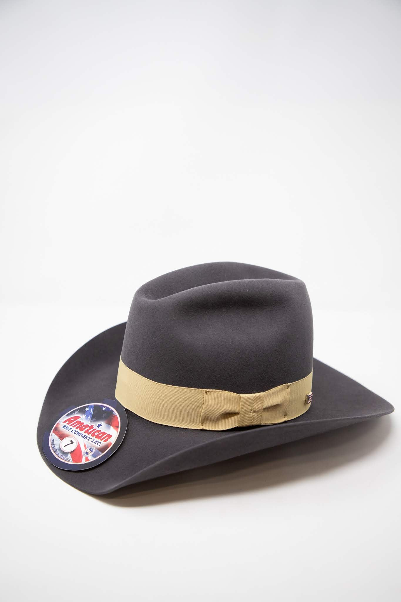 American Hat Co. 7x Steel Buckskin Ribbon Felt Hat
