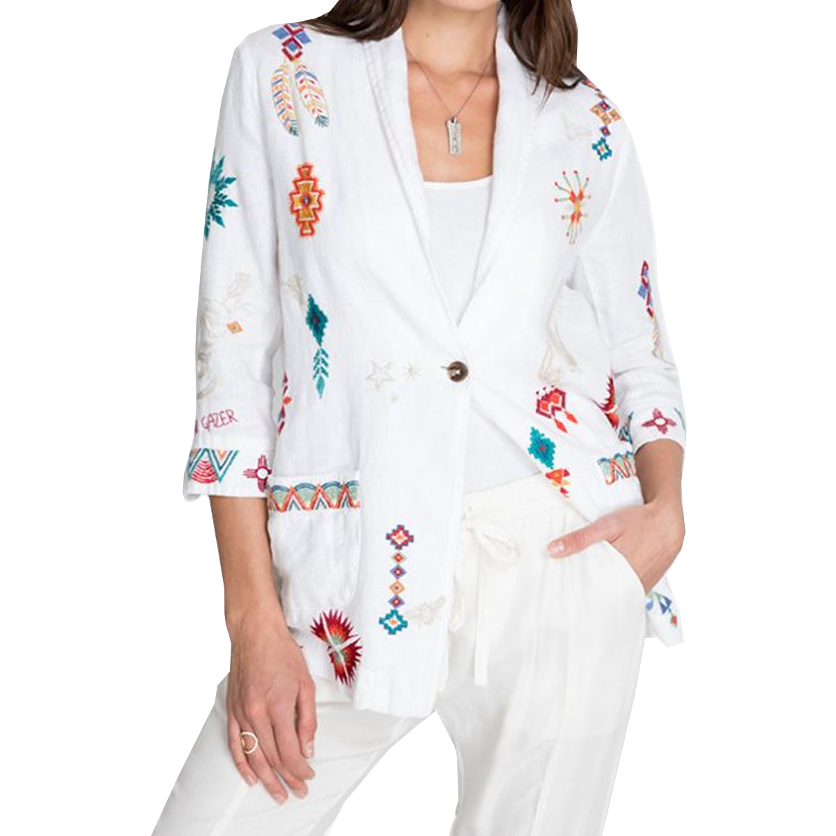 Johnny Was Women's Saguaro Cropped Shawl Collar Jacket - White